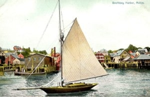 gaff sloop color postcard