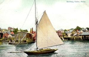 gaff sloop color postcard